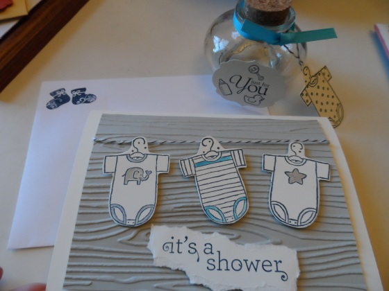 Onsie Baby Shower Theme Invitations and glass favor jar