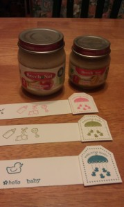 Adding cute labels for the Baby food jar guessing game