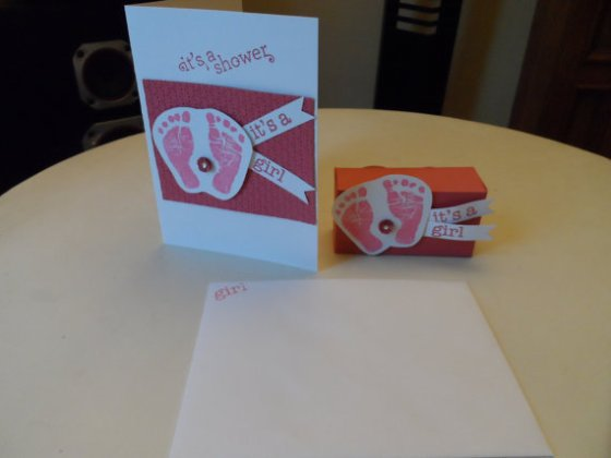 Baby Shower Invitation Pink Baby Prints, baby feet and baby hands with paper favor box