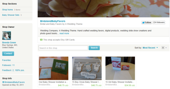 My Etsy Shop BridalandBabyFavors Selling handcrafts baby shower supplies currently